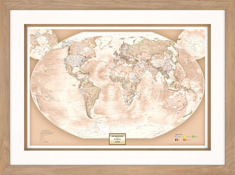 AROUND THE WORLD, die Weltkarte in der Vitrine, mit-Pins Markierungsflaggen, Modell Eiche modern, Frontalansicht